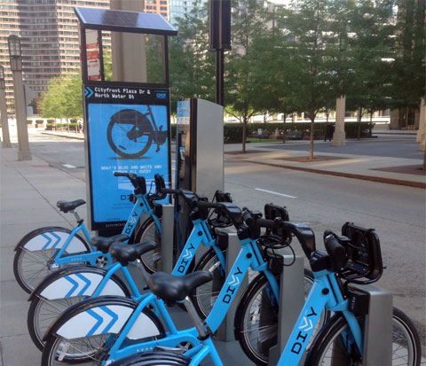 photo of a Divvy bike station in Chicago