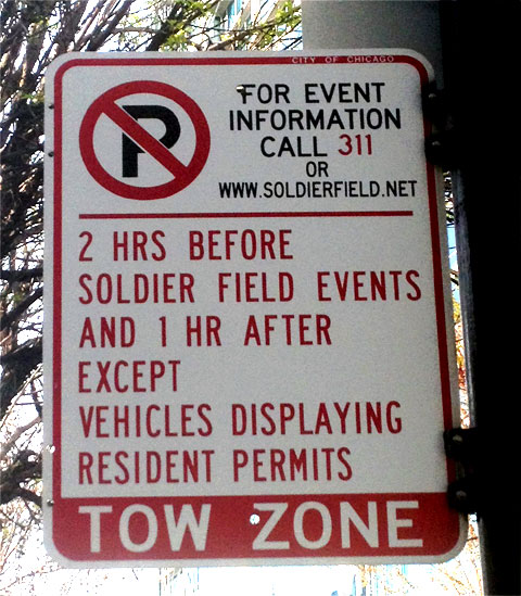 photo of parking sign on South State Street in Chicago